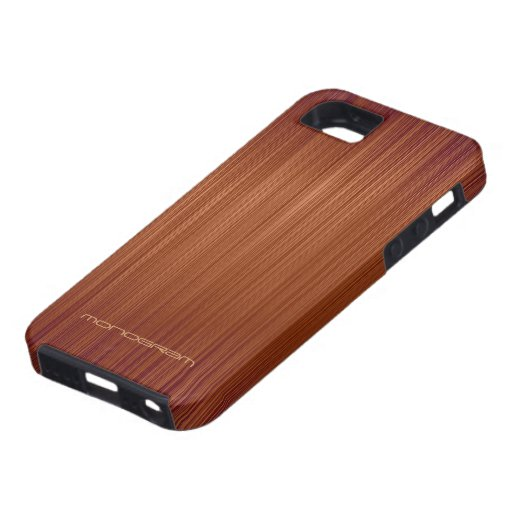 Red Wood Look Texture Pattern-Monogram iPhone 5 Cases