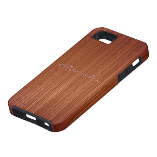 Red Wood Texture Pattern Look-Custom Text iPhone SE/5/5s Case