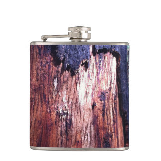 Red Wood Vinyl Wrapped Flask Hip Flasks