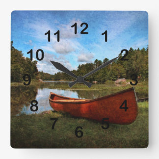 Red wooden canoe landscape square wall clock