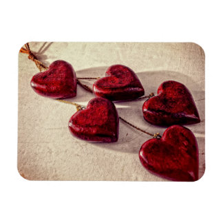 Red Wooden Hearts Tied Together on a String Magnet