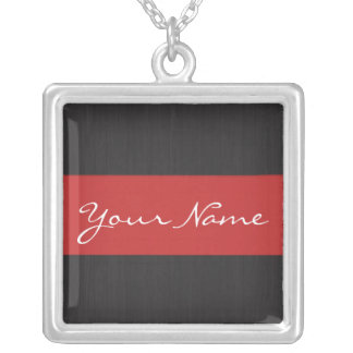 Red & Woodgrain Customizable Name Necklace