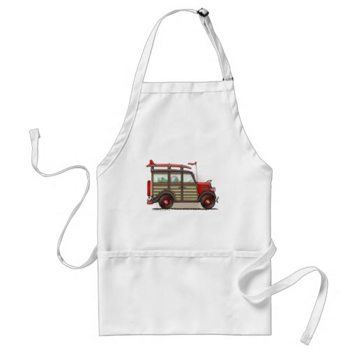 Red Woody Wagon Aprons