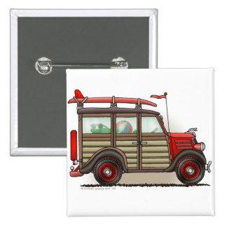 Red Woody Wagon Car Pins