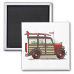 Red Woody Wagon Magnets