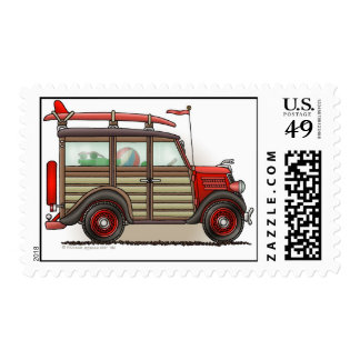 Red Woody Wagon Stamps