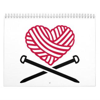 Red wool heart knitting calendar