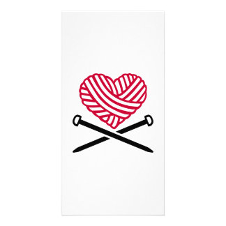 Red wool heart knitting photo card