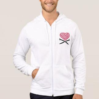 Red wool heart knitting hoodie