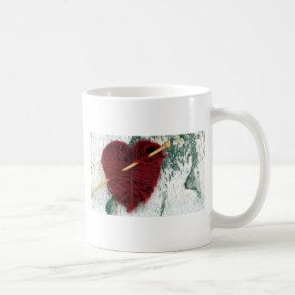 Red wool heart on birch bark photograph coffee mug