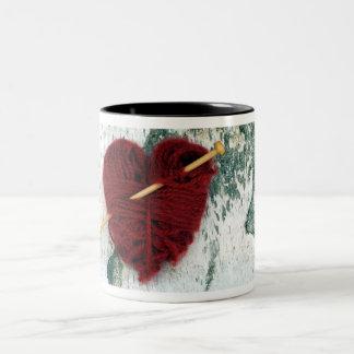 Red wool heart on birch bark photograph Two-Tone coffee mug