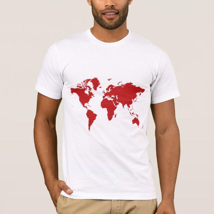 Red world map t shirt Zazzle