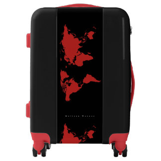 red world map travel luggage
