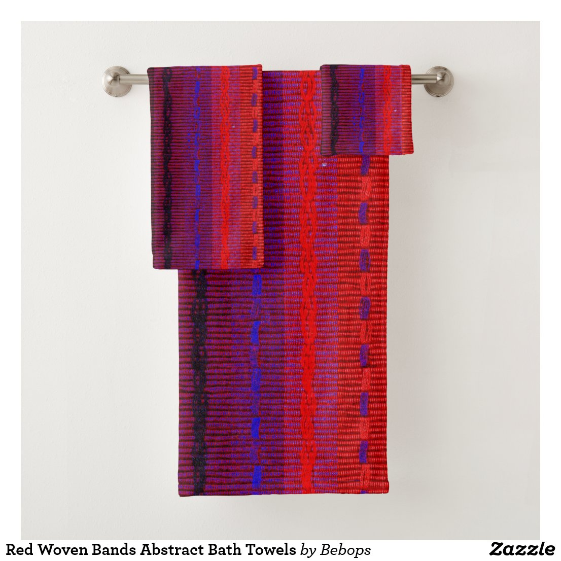Red Woven Bands Abstract Bath Towels