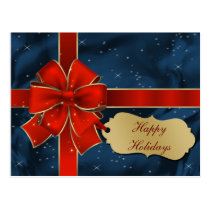 red  wrapped ribbon season's Greeting PostCards