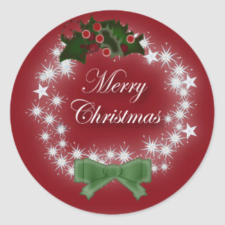 Red Wreath Corporate Christmas Greeting Classic Round Sticker