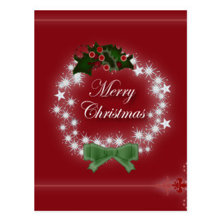 Red Wreath Corporate Christmas Greeting Postcard