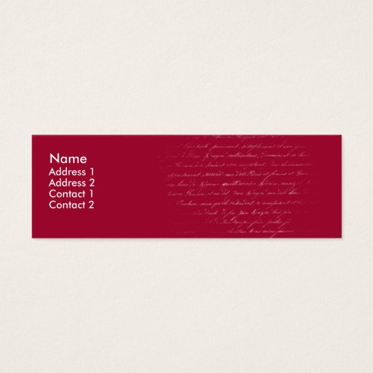 Red writing - skinny mini business card
