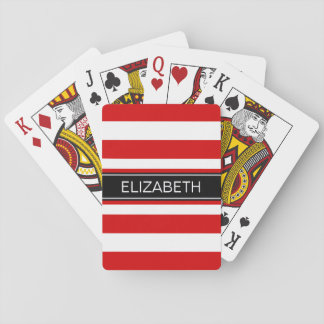 Red Wt Horz Preppy Stripe Black Name Monogram Playing Cards