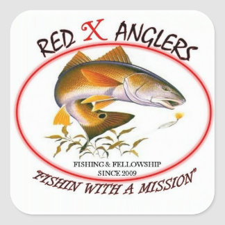 Red X Anglers redfish square sticker