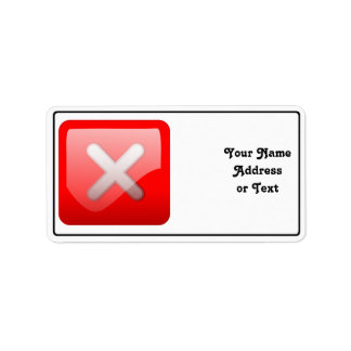 Red X Button Address Label