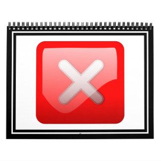 Red X Button Calendar