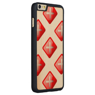 Red X Button Carved® Maple iPhone 6 Plus Slim Case