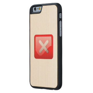 Red X Button Carved® Maple iPhone 6 Slim Case