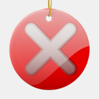 Red X Button Christmas Ornaments