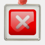 Red X Button Christmas Tree Ornament