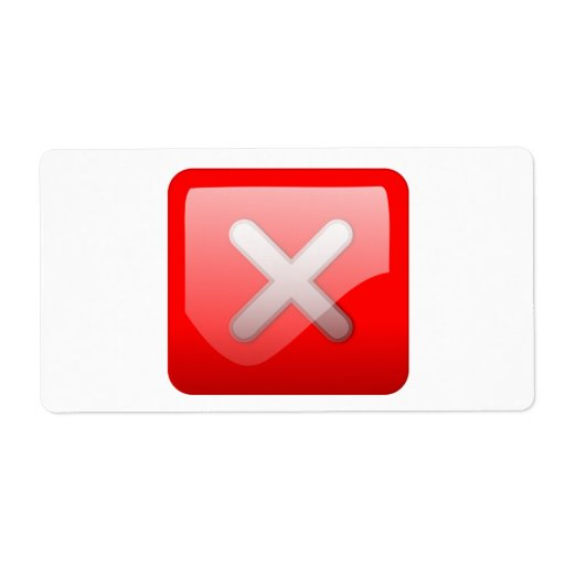 Red X Button Custom Shipping Labels