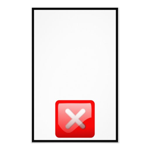 Red X Button Customized Stationery