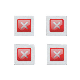 Red X Button Stone Magnet