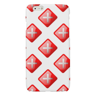 Red X Button Glossy iPhone 6 Case