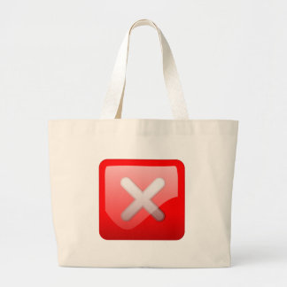 Red X Button Large Tote Bag