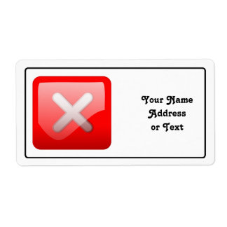 Red X Button Personalized Shipping Label