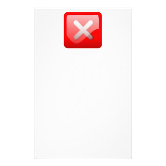 Red X Button Personalized Stationery