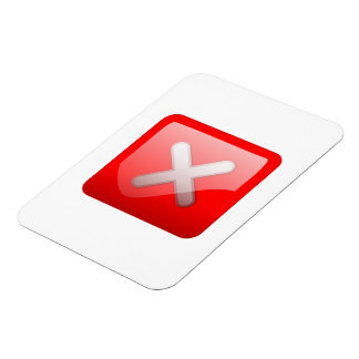Red X Button Rectangle Magnets