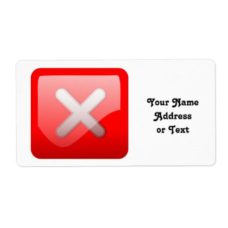 Red X Button Shipping Label