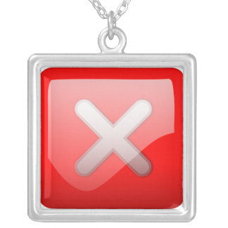 Red X Button Square Pendant Necklace