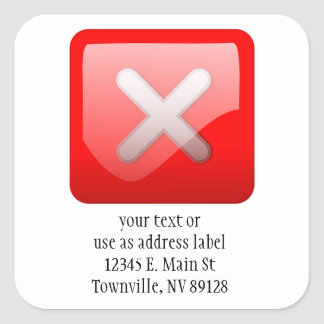 Red X Button Square Sticker