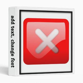 Red X Button Vinyl Binder