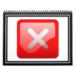 Red X Button Wall Calendar