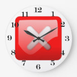 Red X Button Wall Clocks