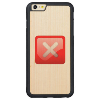 Red X Button Carved® Maple iPhone 6 Plus Bumper Case