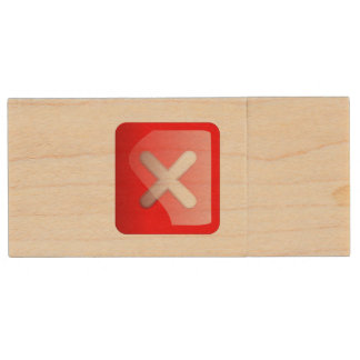 Red X Button Wood USB 2.0 Flash Drive