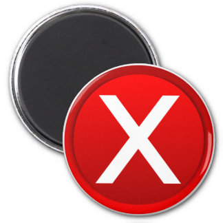 Red X - No / Incorrect Symbol 2 Inch Round Magnet