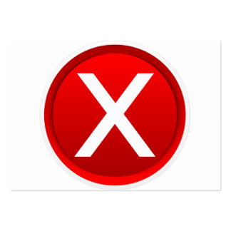 Red X - No / Incorrect Symbol Large Business Card