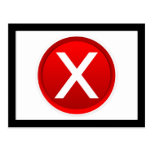 Red X - No / Incorrect Symbol Postcard
