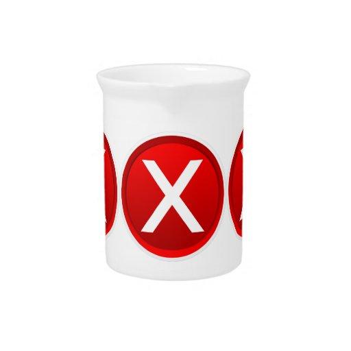 Red X - No - Symbol Beverage Pitchers